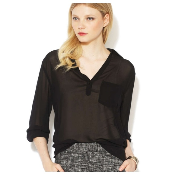 M By Marcus Tops Sheer Black Pocket Blouse Top Xs Poshmark